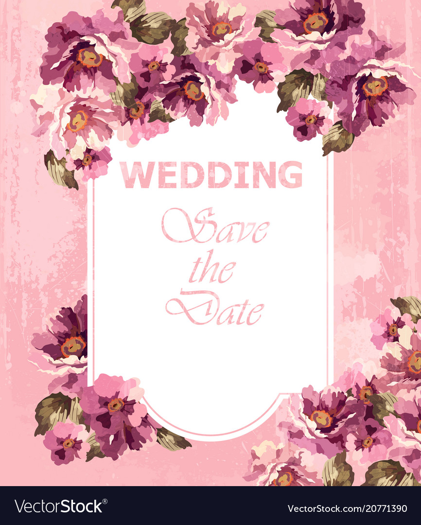 Wedding invitation pink card spring floral