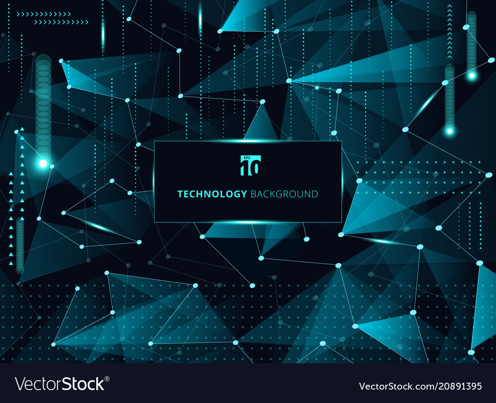 Abstract technology blue triangles and low