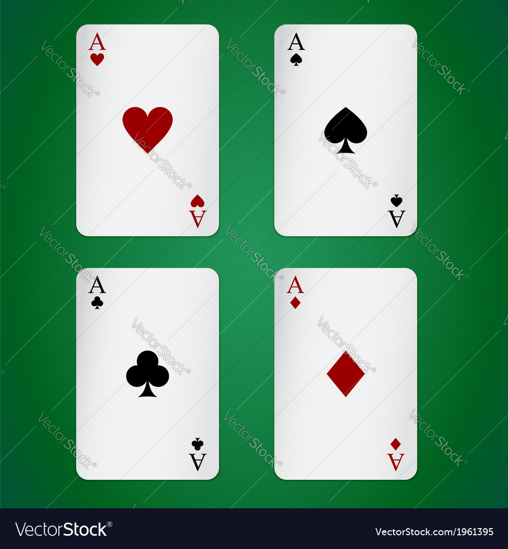 Aces playing cards individually