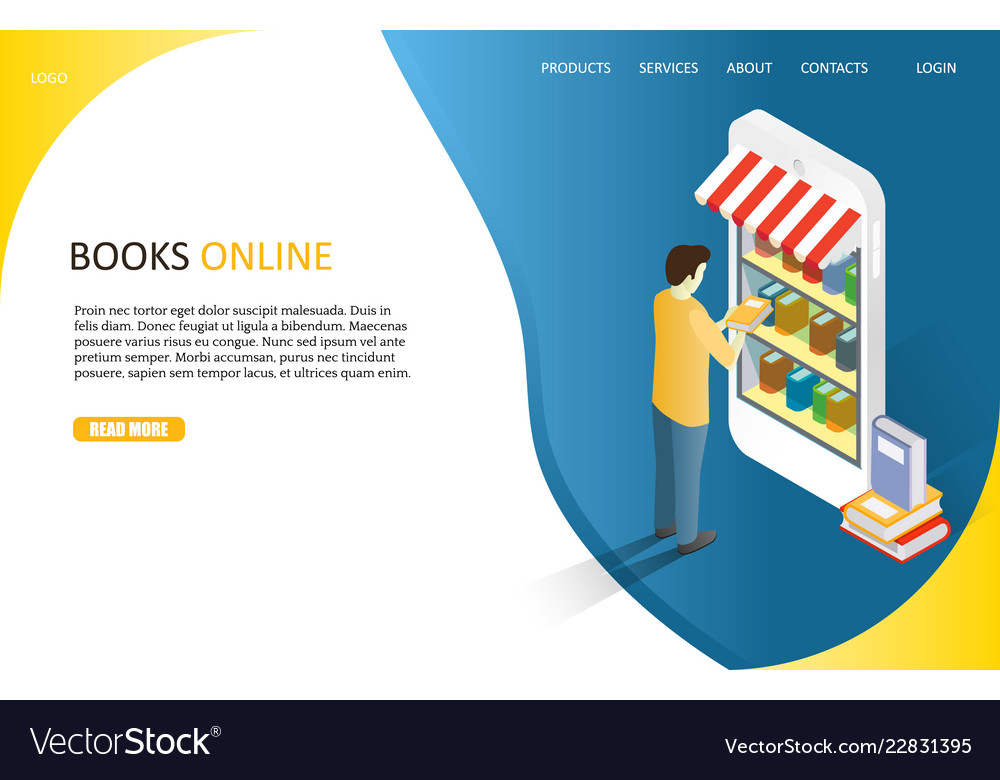 Books online landing page website template