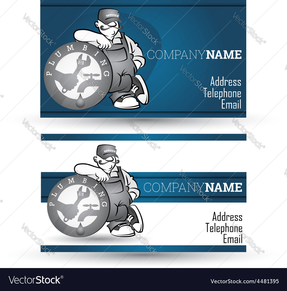 Business Card For Sanitary Technician Vector Image