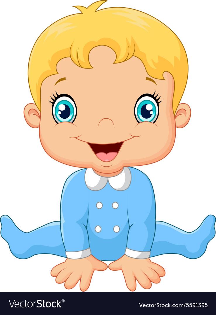 Cartoon baby boy wearing blue pajama Royalty Free Vector