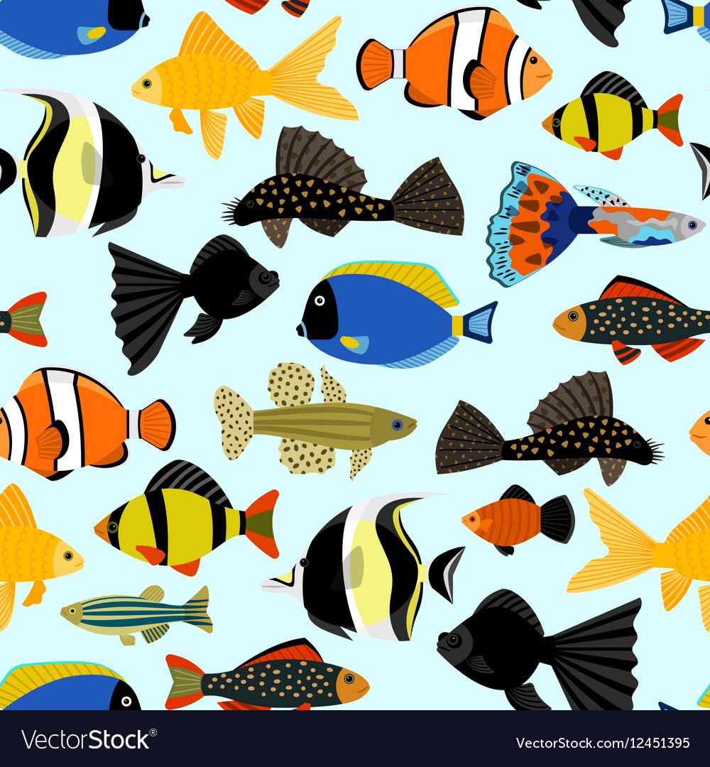 Fishes seamless pattern Cute cartoon aquarium fish