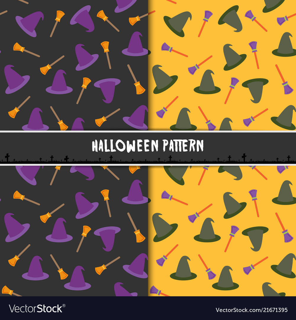 Halloween seamless pattern with hat and broom