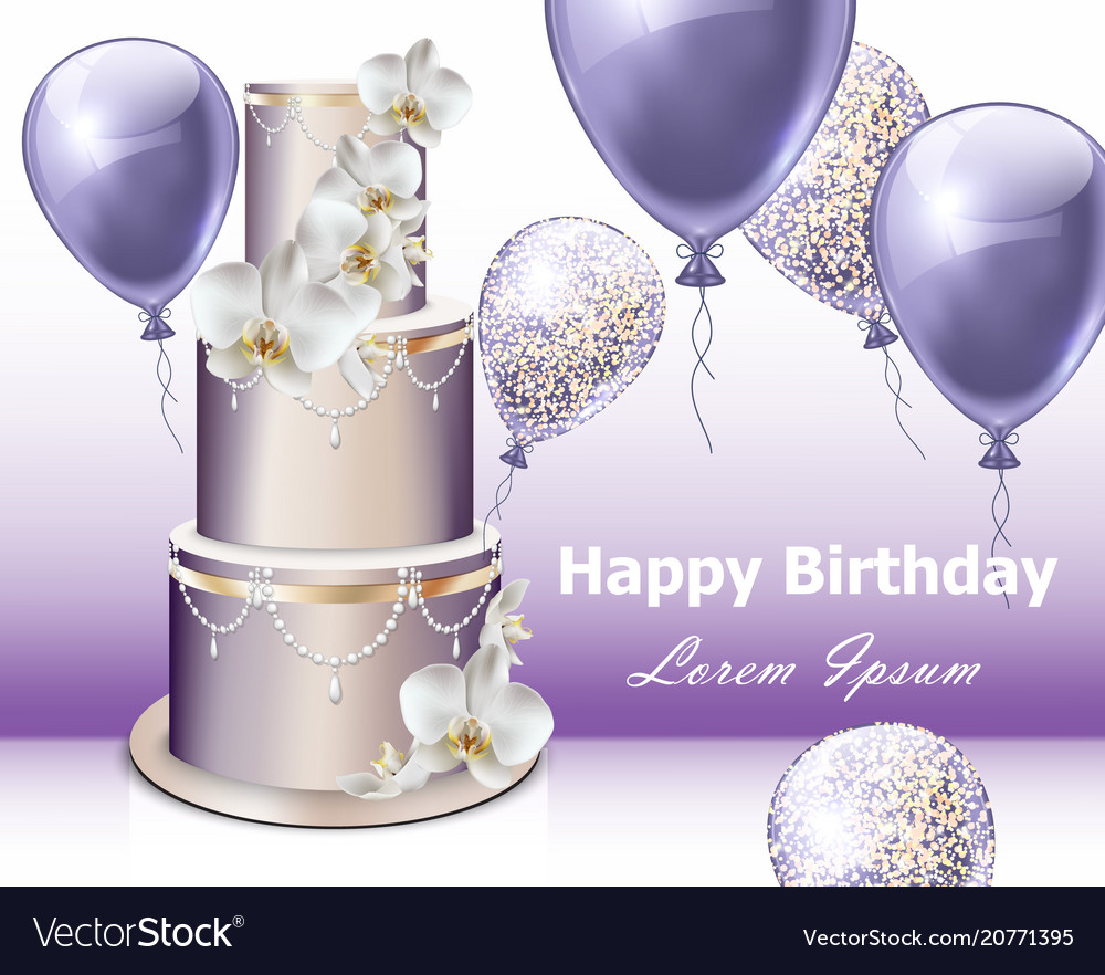 Amazing Happy Birthday Cake And Balloons Party Royalty Free Vector Personalised Birthday Cards Paralily Jamesorg