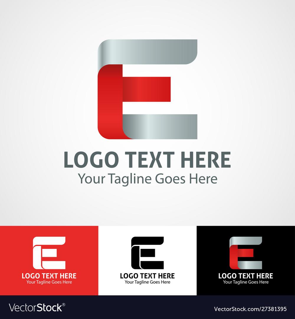 Hi-tech trendy initial icon logo e