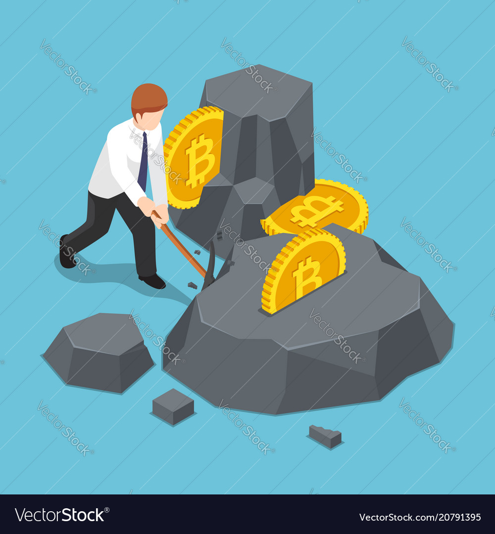 Isometric businessman is digging bitcoin from the