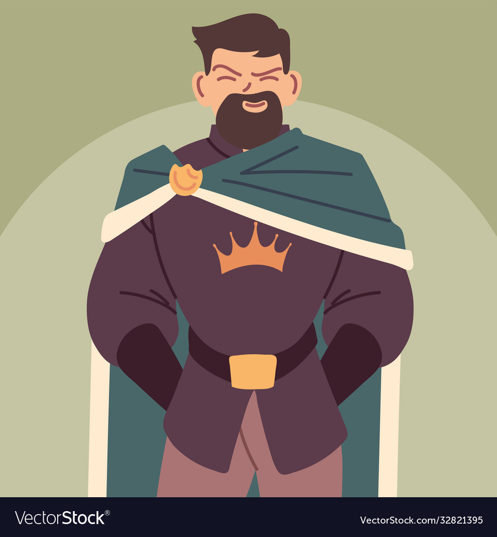 King Man With Royal Robes Monarch Royalty Free Vector Image