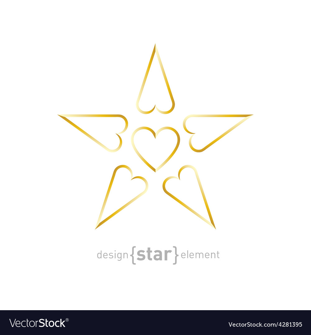 Luxury golden star with hearts on white background