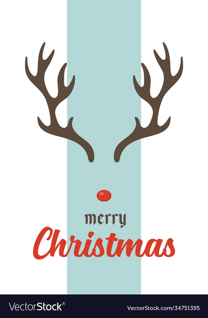 Merry christmas greeting card with antlers
