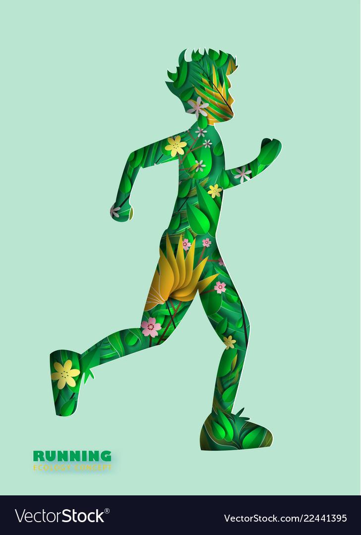 Paper art of running man silhouette curve shape
