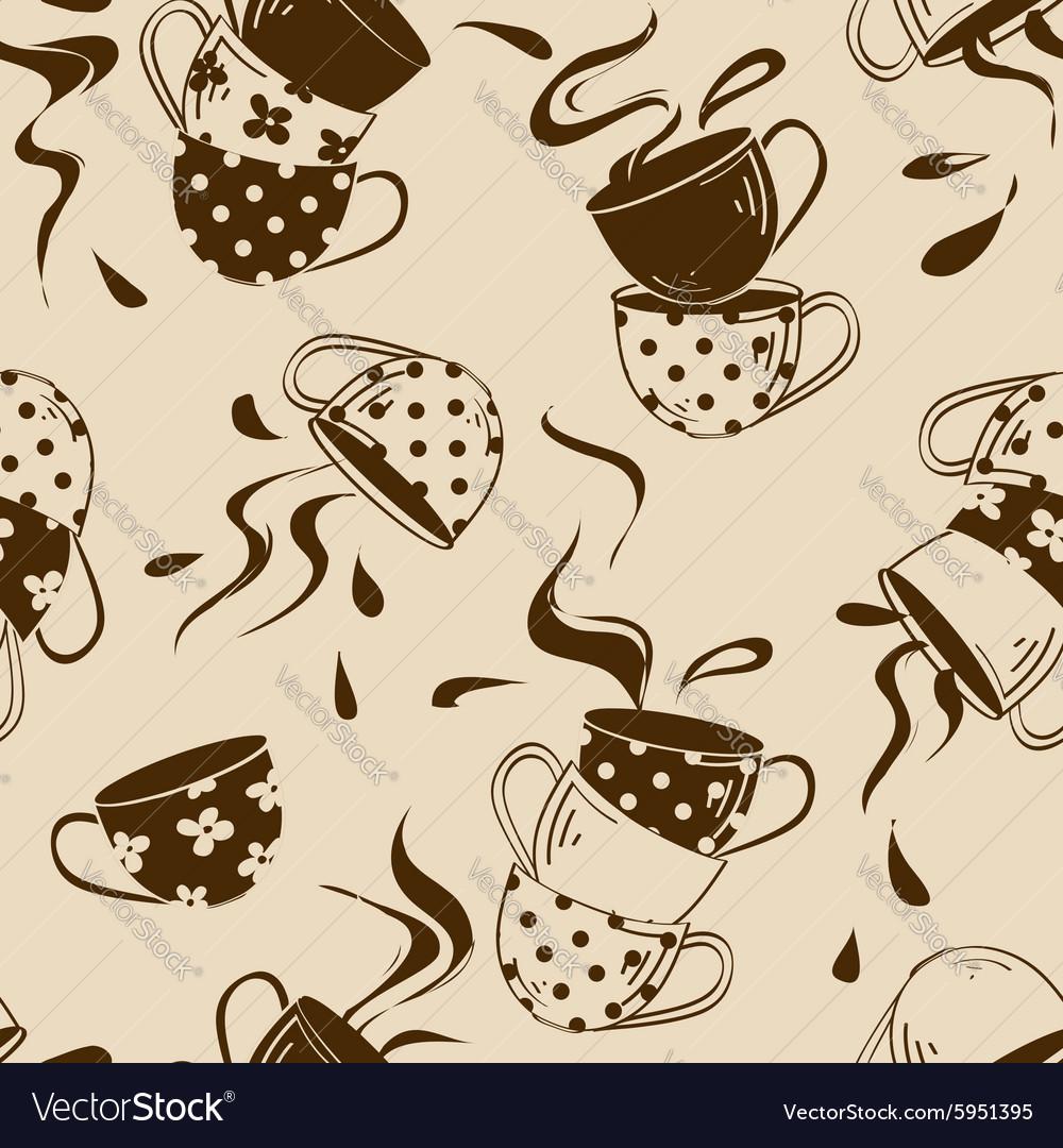 Seamless pattern of teacups