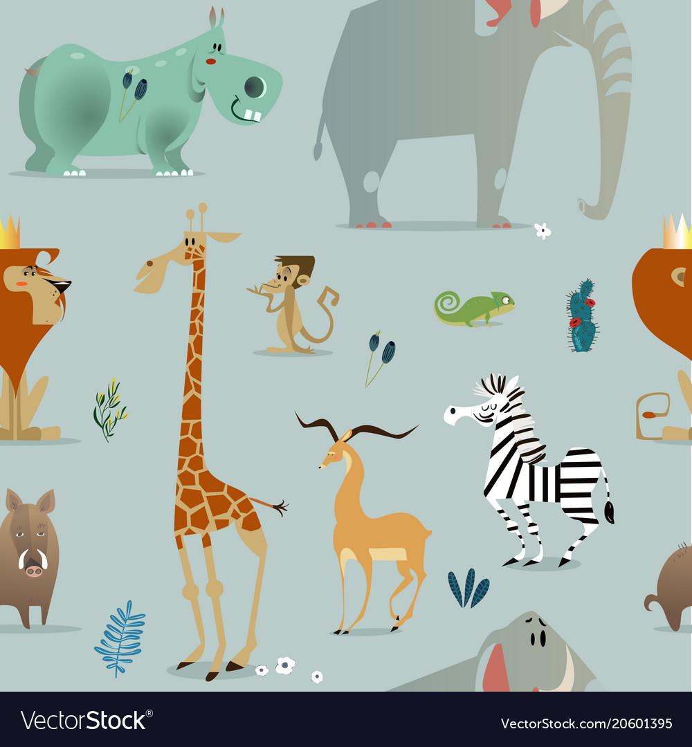 Seamless pattern with safari animals