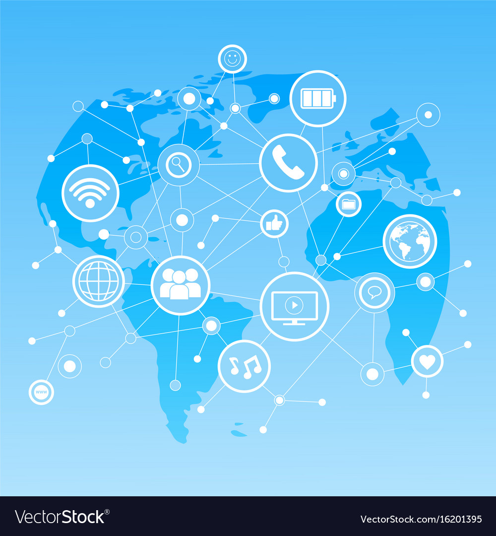 Social media icons over world map background Vector Image