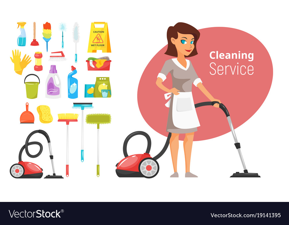 Woman household character vacuuming