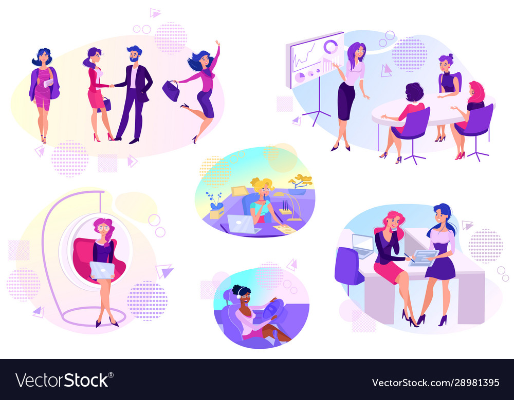 Woman Success In Business Career Cartoon Vector Image