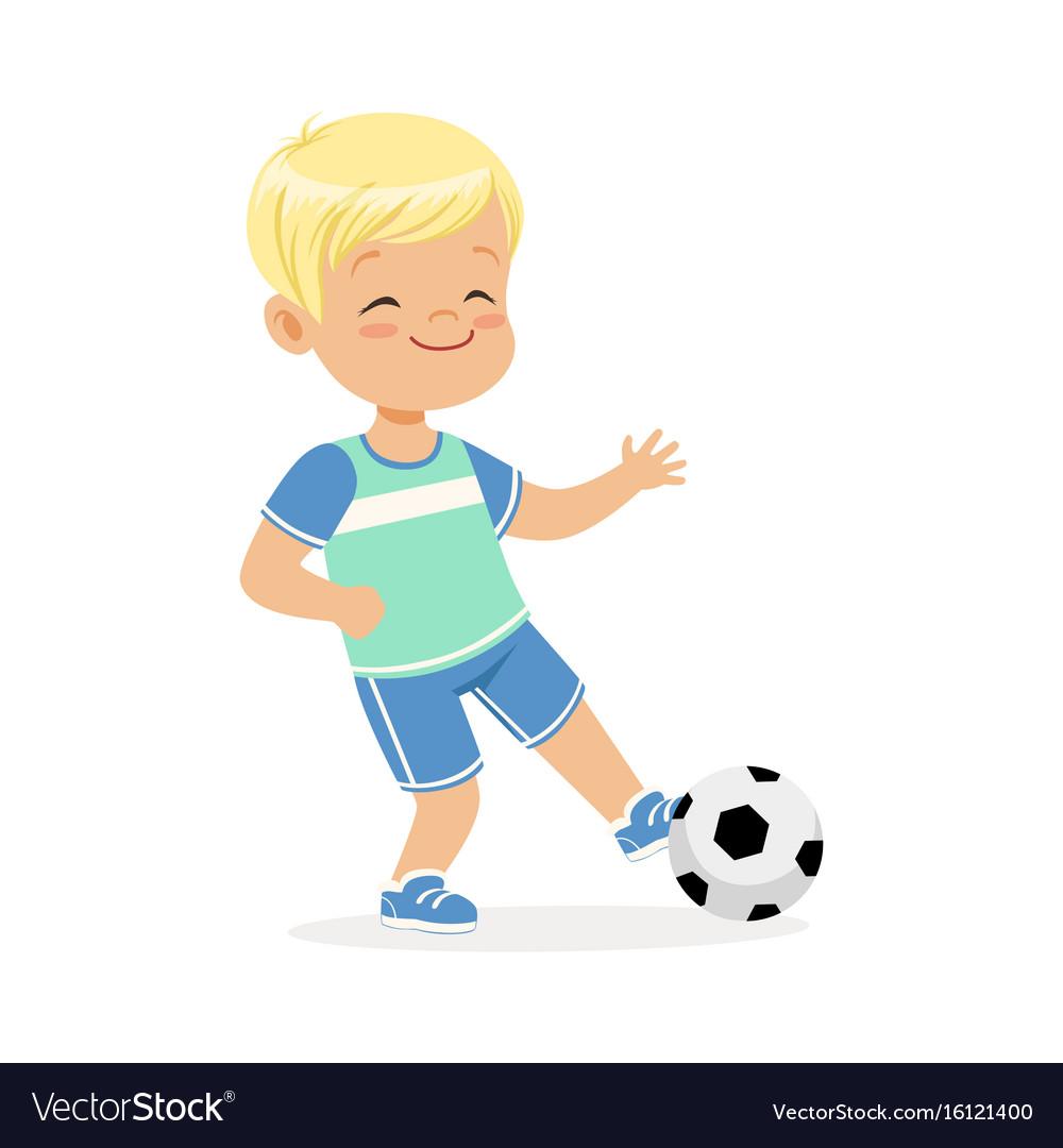 Boy playing soccer kid kicking a ball colorful