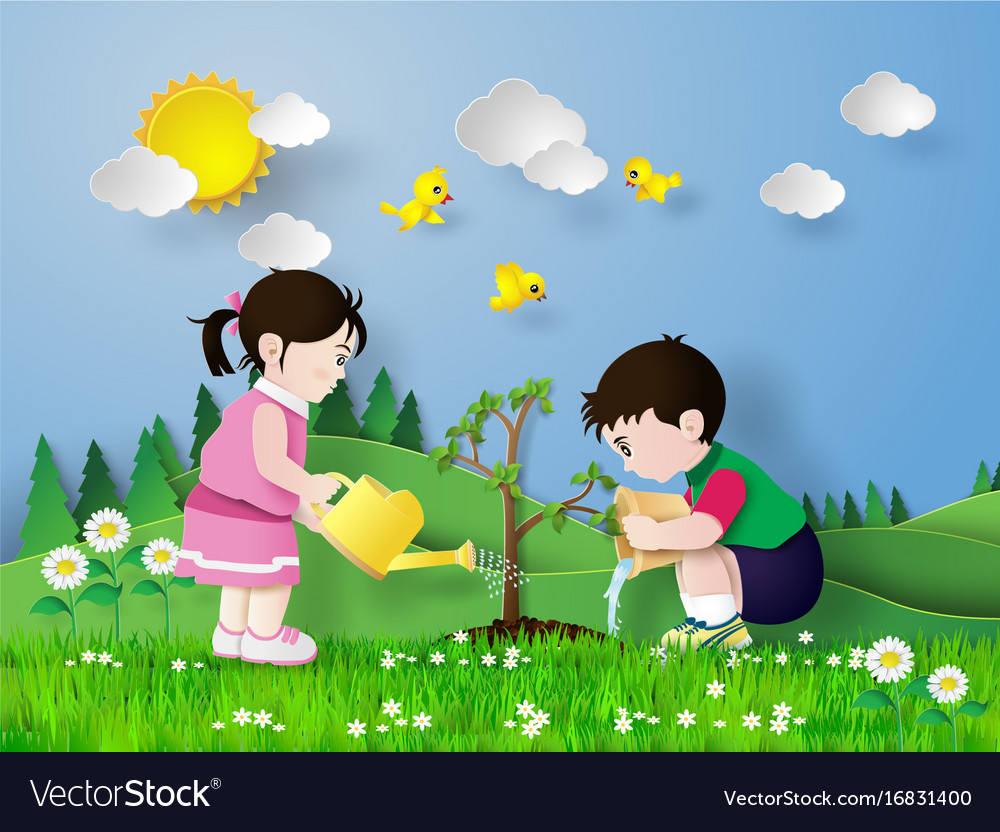 Child pouring water on the tree