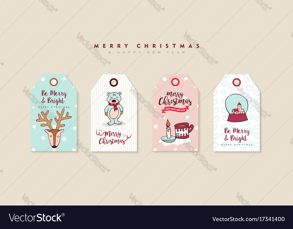 Christmas and new year cute cartoon label set