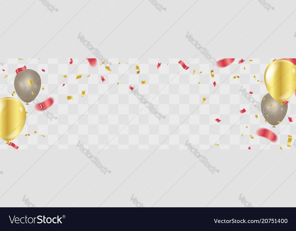 Happy birthday gold confetti celebration vector image