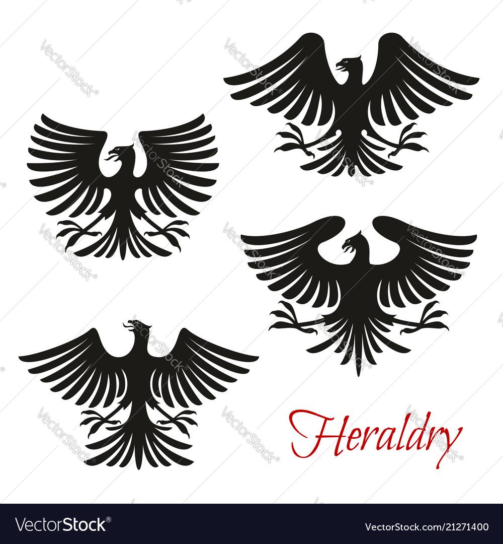 Heraldic black eagle falcon or hawk bird symbol