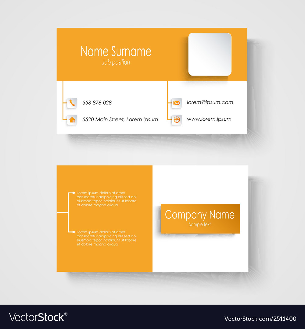 Modern sample orange business card template vector image flashek Images