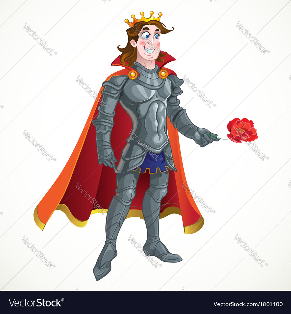 Prince Charming in armour give flover vector image