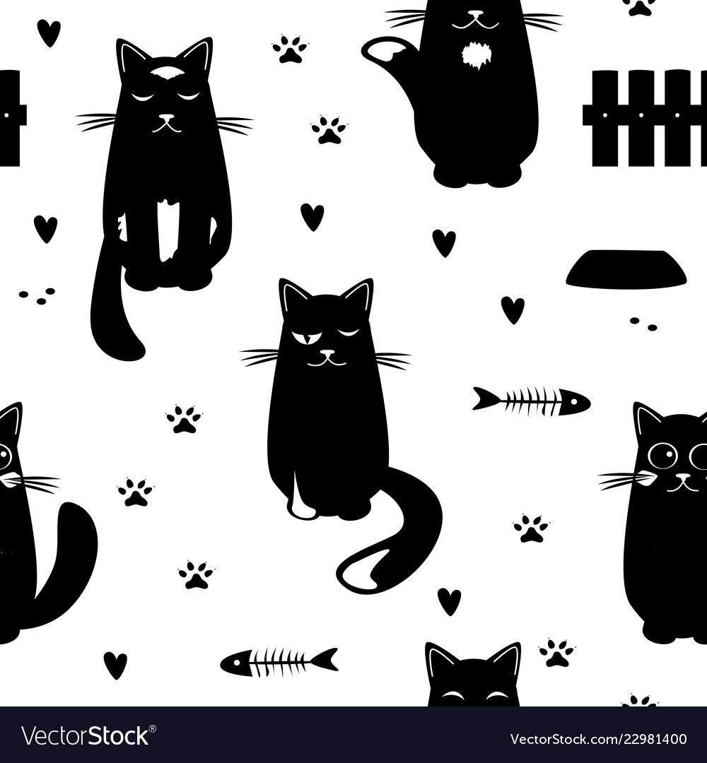 Seamless pattern with black cats fish