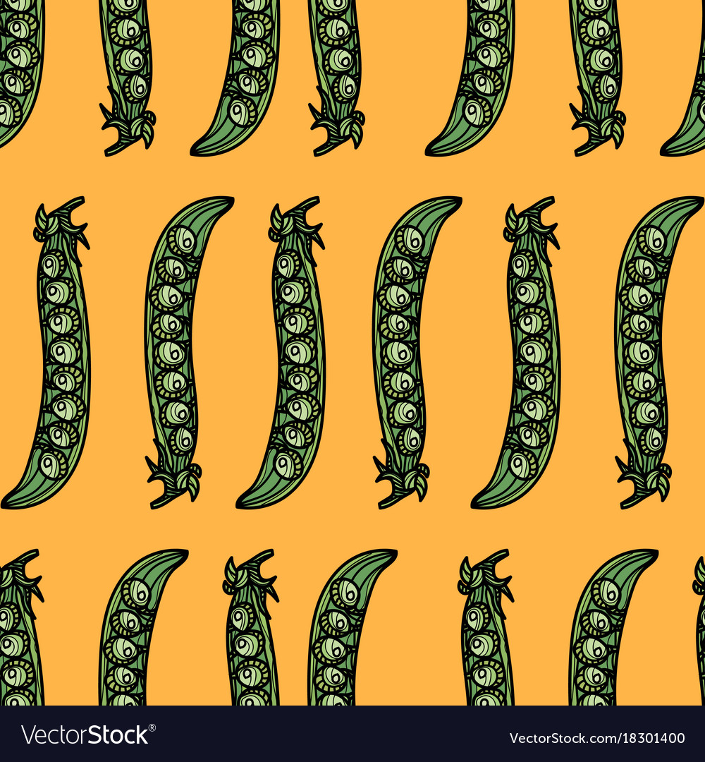 Seamless pattern with green pea pods vector image
