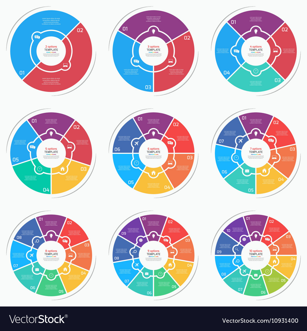 Set of flat style pie chart circle infographic