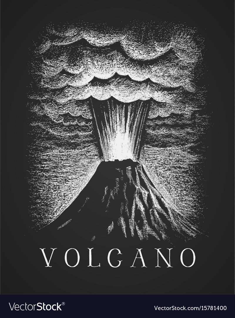 Volcanic eruption chalk drawing