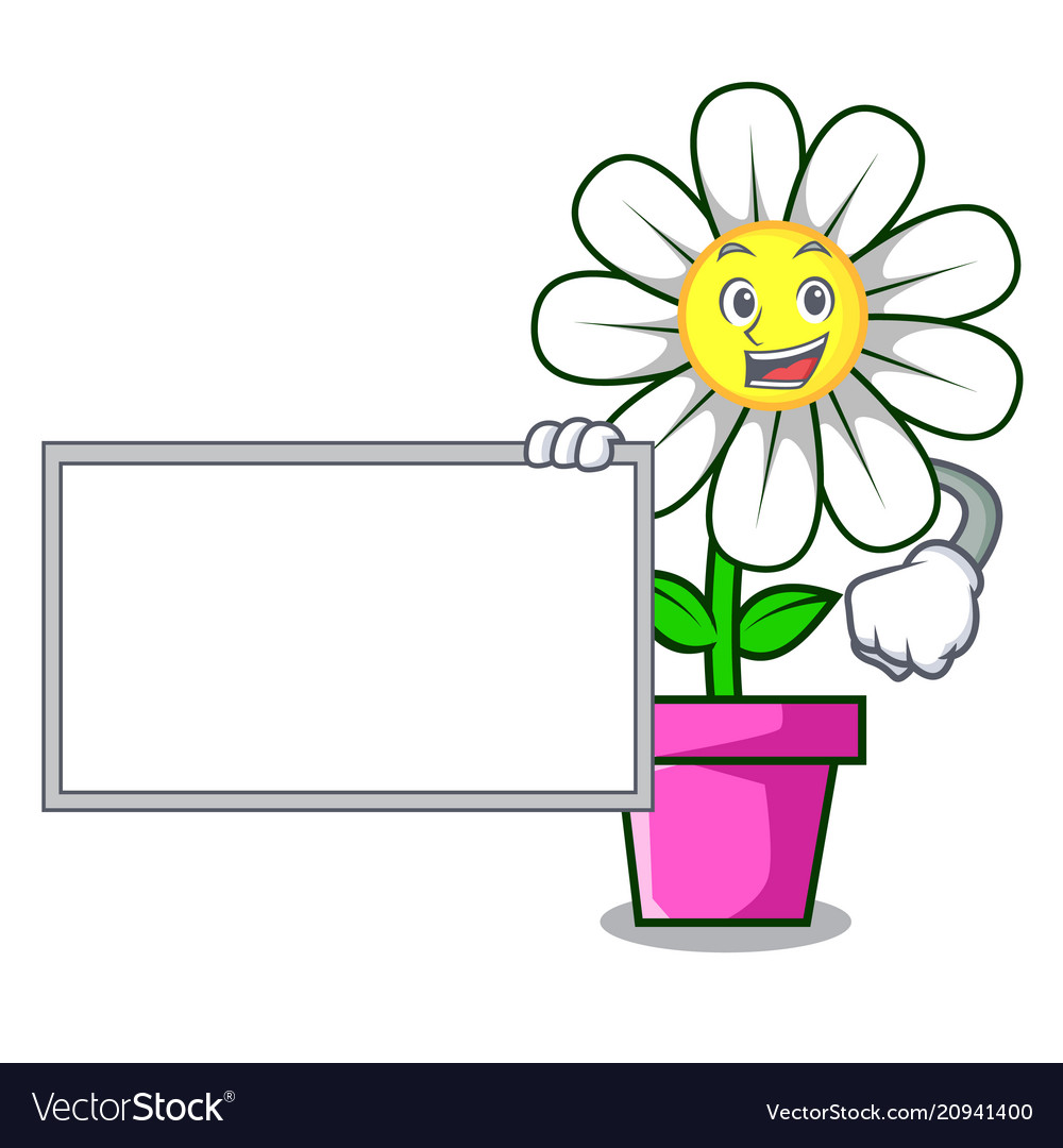 With Board Daisy Flower Character Cartoon Vector Image