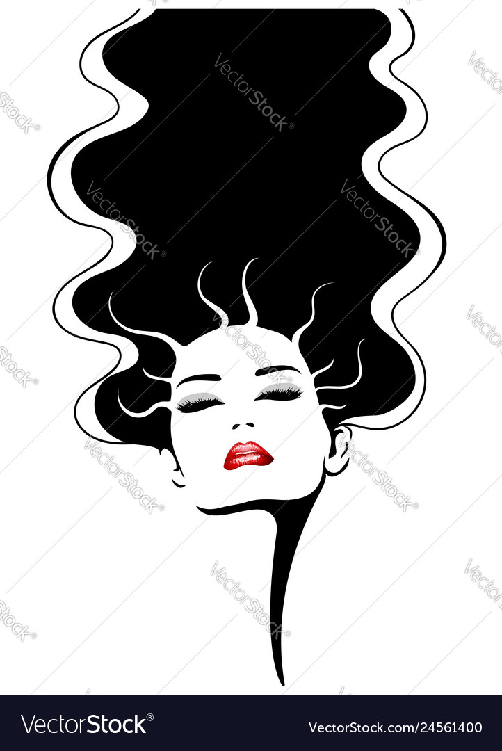Woman face with red lips fashion