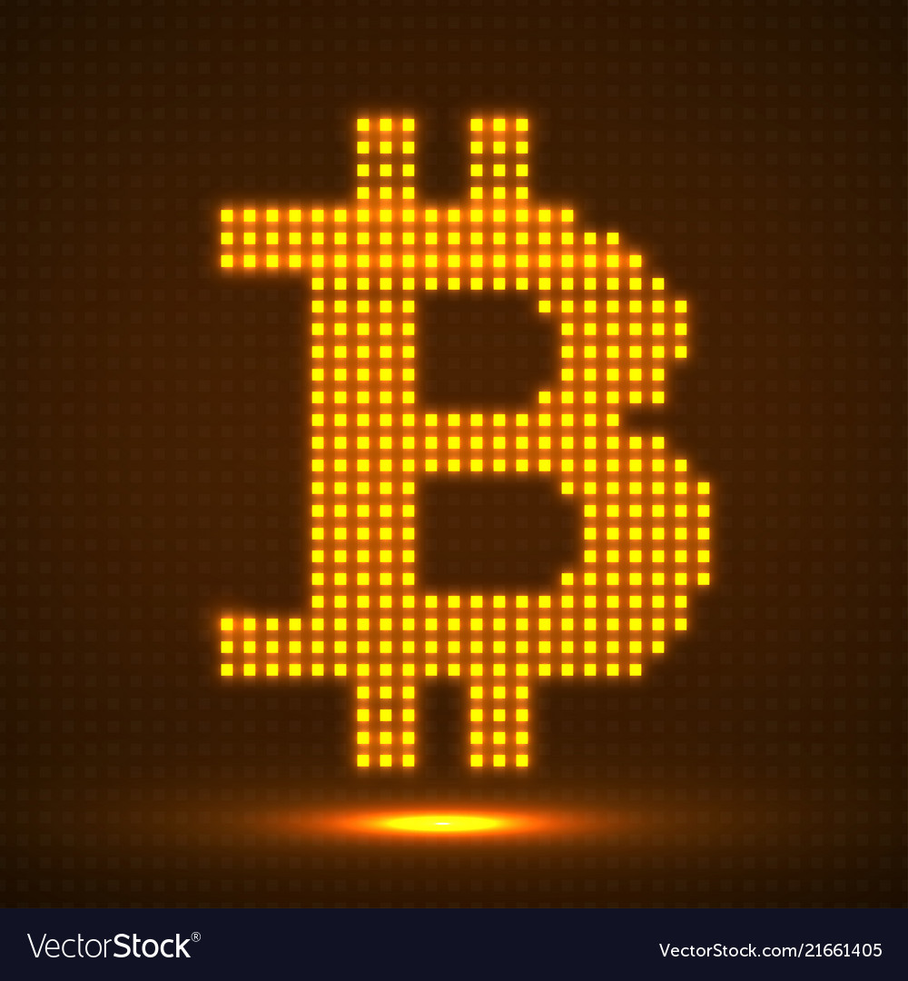 Abstract neon sign bitcoin from pixels