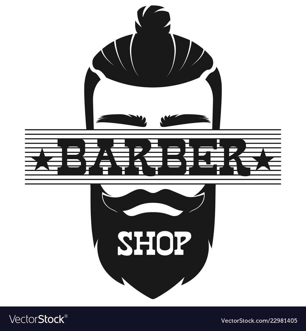 Barber shop bearded man face retro vintage label vector image