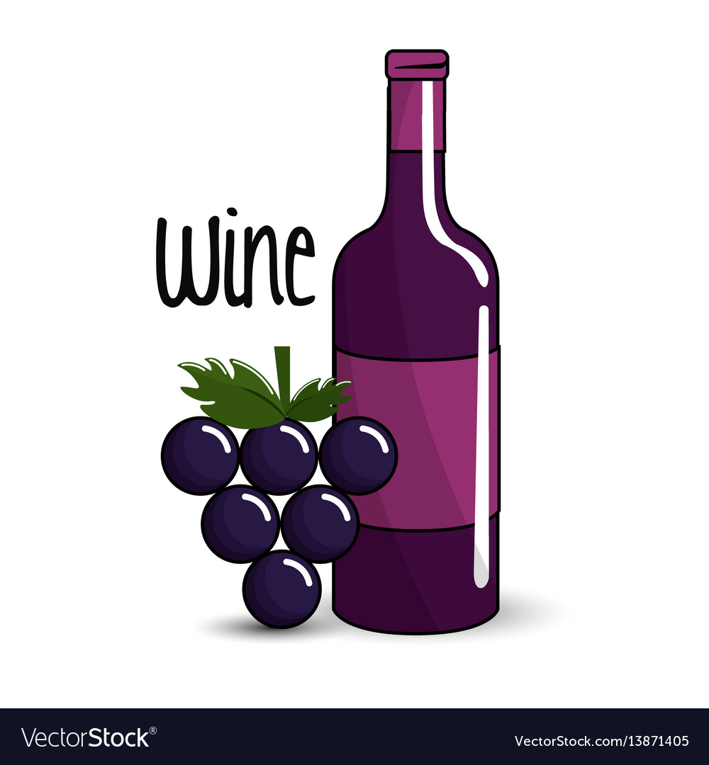 Bottle of wine with bunch of grapes icon vector image