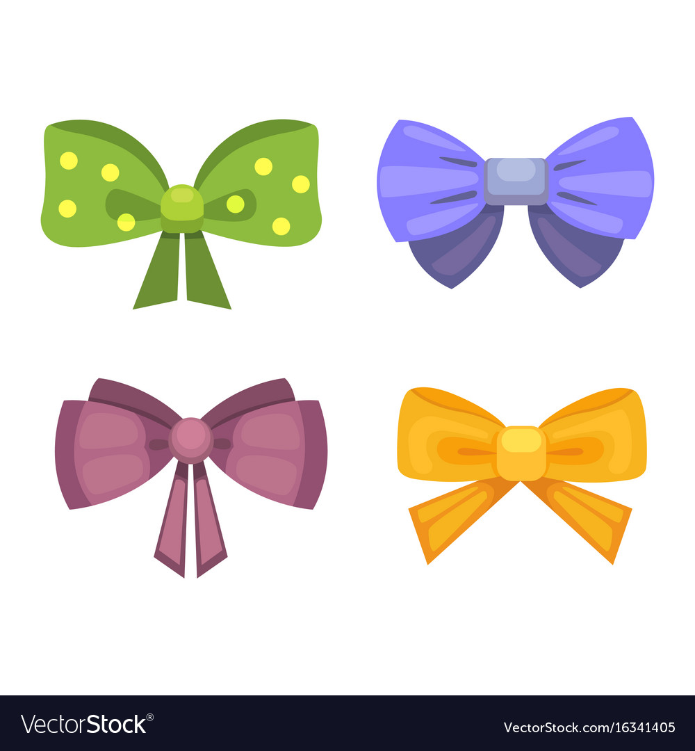 Cartoon cute gift bows with ribbons color vector image negle Gallery