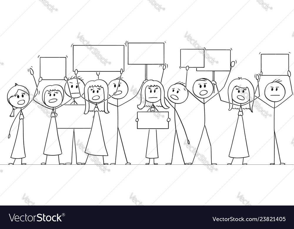 Cartoon drawing of group of people protesting