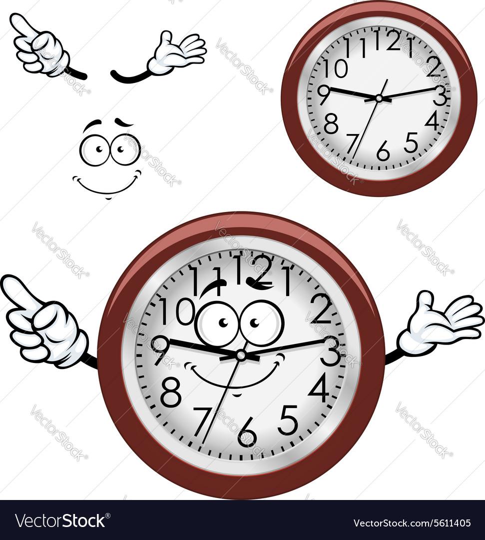 Cartoon wall clock with brown rim
