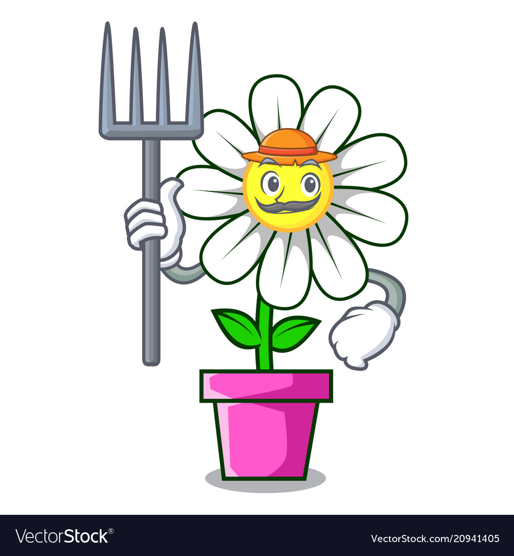 Farmer Daisy Flower Character Cartoon Royalty Free Vector