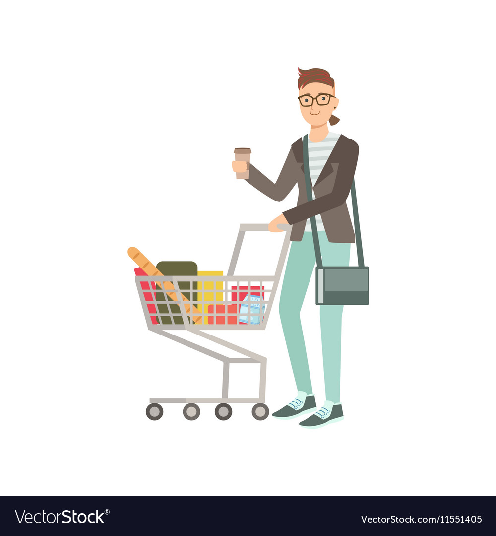 Guy Drinking Coffee And Grocery Shopping