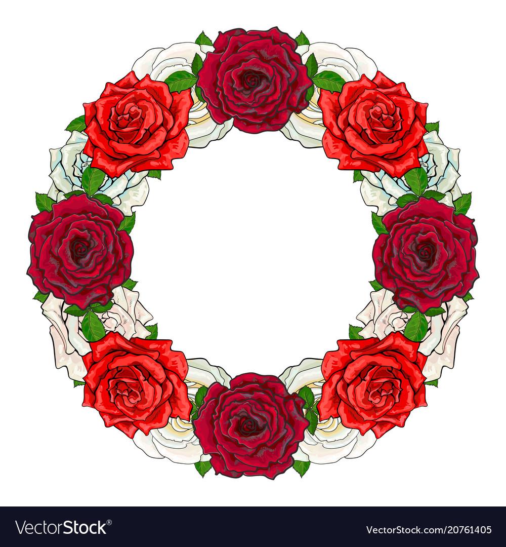 Hand drawn rose circle frame vector image