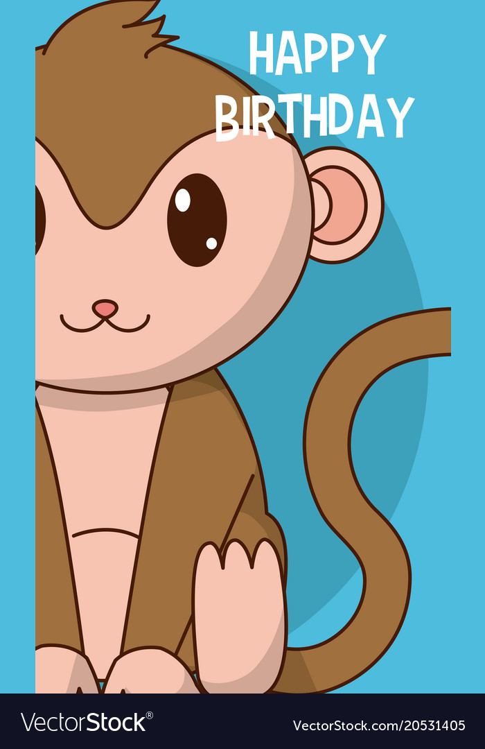 Monkey Cute Birthday Card Royalty Free Vector Image