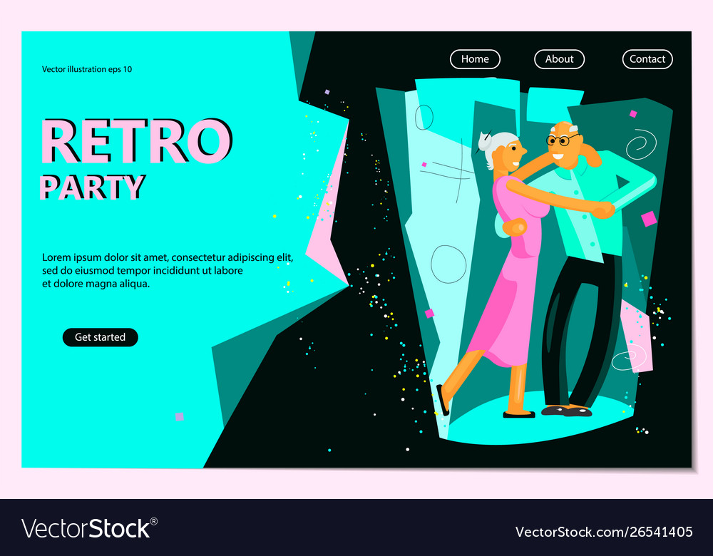 Retro party poster template