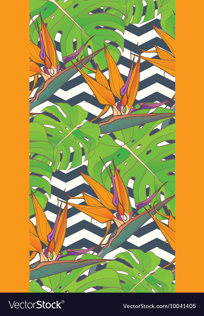Seamless background with palm leaves and tropical