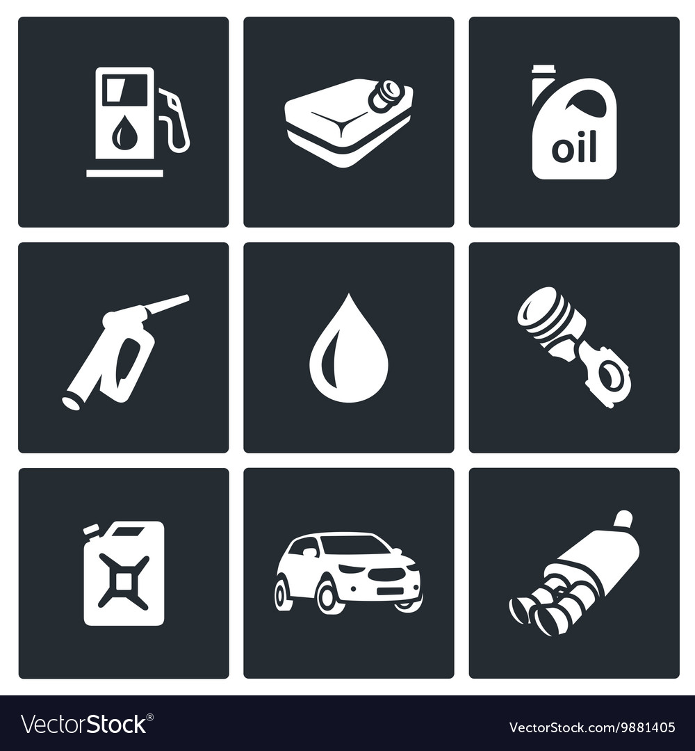 Set of Fuel Icons Petrol station gasoline