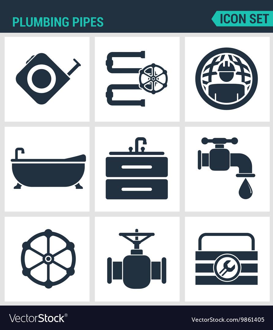 Set of modern icons Plumbing pipe