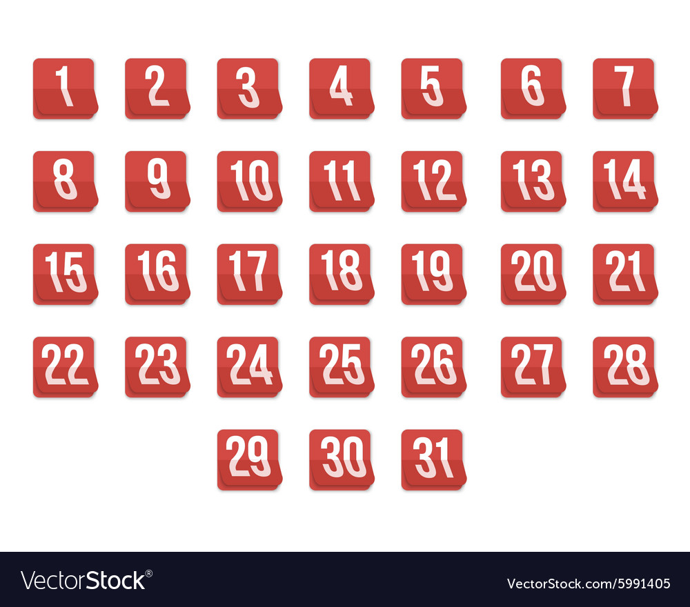 Set of Photorealistic Calendar Icons from