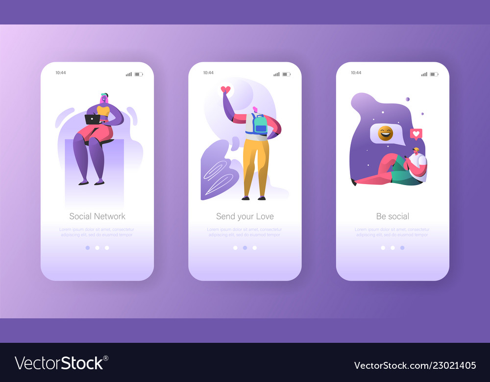 Social media onboarding mobile app screens