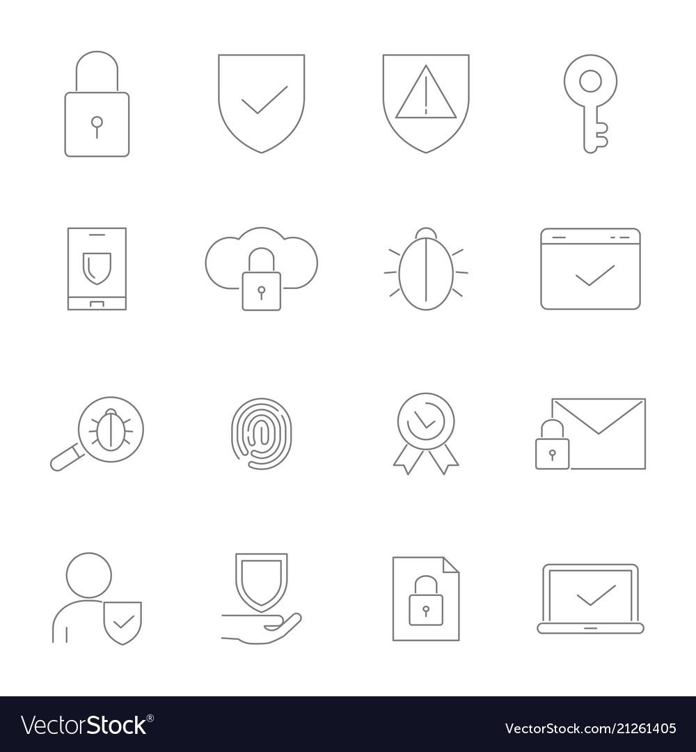 Symbols of privacy icon set in linear